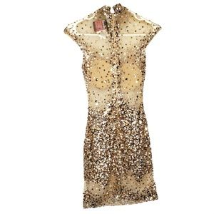 MacDuggal Sheer Sequined Gold Pagent Formal Dress